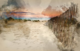 Watercolour paintinng of Grassy sand dunes landscape at sunrise