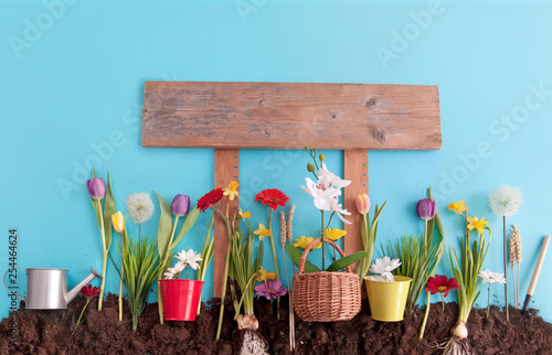 Spring garden with wooden sign post