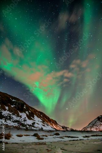 Leinwanddruck Bild Polarlicht am Himmel