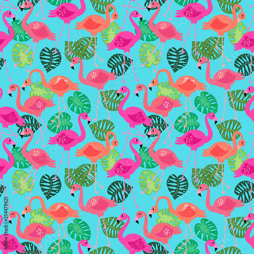 Seamless Vector Pattern with Flamingos and Other Summer Themed Elements - 254479621