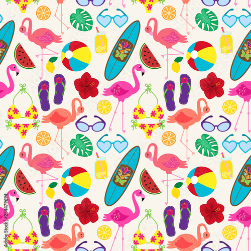 Seamless Vector Pattern with Flamingos and Other Summer Themed Elements - 254479694