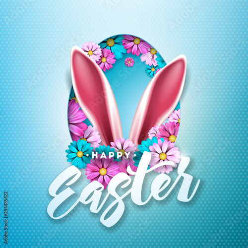 Happy Easter Holiday Design with Spring Flower in Egg Silhouette on Light Blue Background. Vector Illustration of International Celebration Design with Typography Letter for Greeting Card, Party - 254485622