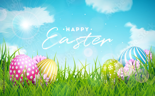 Happy Easter Holiday Illustration with Painted Egg and Flower on Nature Grass Background. Vector International Celebration Design with Typography for Greeting Card, Party Invitation or Promo Banner. - 254486264