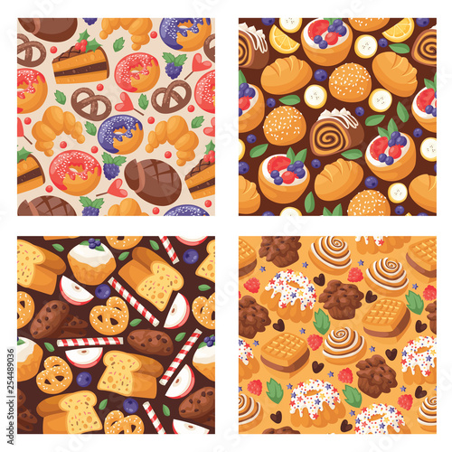 mata magnetyczna Pastry vector seamless pattern baked cake cream cupcake and sweet confection dessert with caked candies illustration backdrop confected donut with chococream and sweets background
