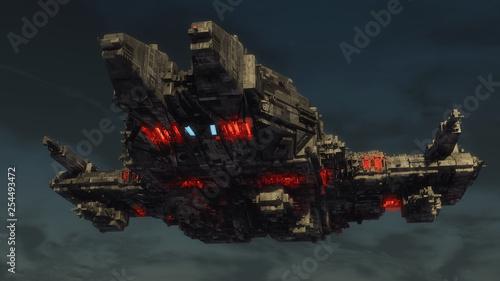3d render. Alien spaceship concept © Miguel Aguirre