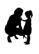 Mom's silhouette with a child. - 254493691