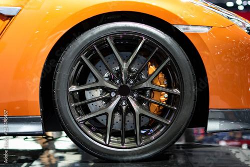 Sport car wheels and break. - 254496487