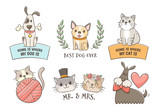 Hand drawn pet labels with quotes. Cat and dog lovers. Isolated objects, perfect for T-shirt, pet shop, decor elements and design products for pets.