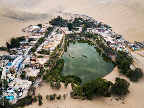 Desert oasis aerial landscape - 254502822
