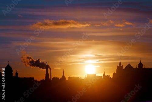 Beautiful photo of the landscape of the Moscow Kremlin in the evening at sunset
