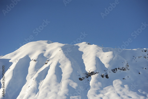 Winter scenery with mountain and snow  - 254506010