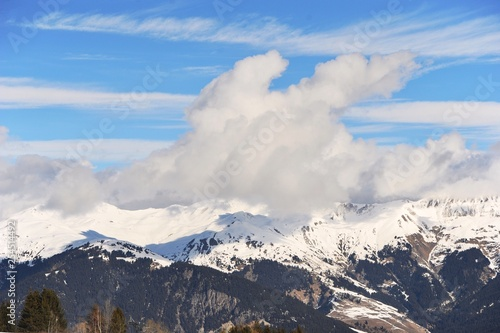 Winter scenery with clouds
