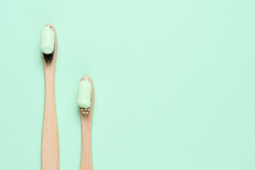 Bamboo toothbrushes with natural toothpaste top view © Anatoliy Sadovskiy
