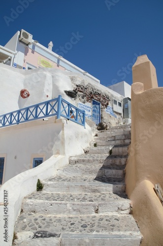 Up stairs inside Oia town of Santorini