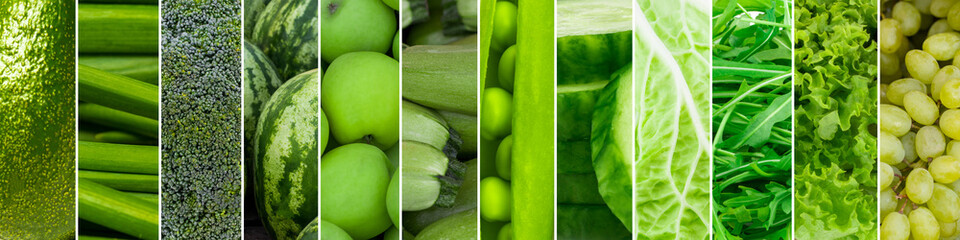 Mixed of green fruits and vegetables. Collage of fresh ripe food © Oleksandr