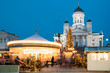 Leinwanddruck Bild - Helsinki, Finland. Xmas Market On Senate Square With Holiday Carousel And Famous Landmark Is Lutheran Cathedral And Monument To Russian Emperor Alexander II At Winter Evening