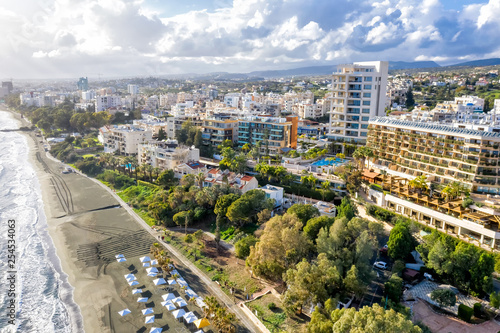 Aerial view of Limassol city, a famous tourist resort, Cyprus