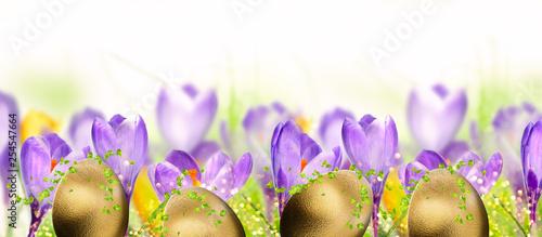 Leinwanddruck Bild Spring flowers with gold eggs. Easter background