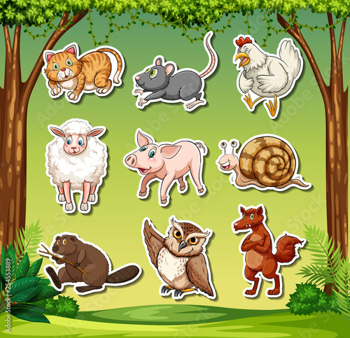 Set of animal sticker character - 254553889