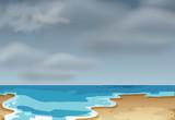 A cloudly beach scene