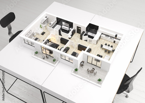 Home floor plan, apartment interior layout on table. 3D render  © artjafara