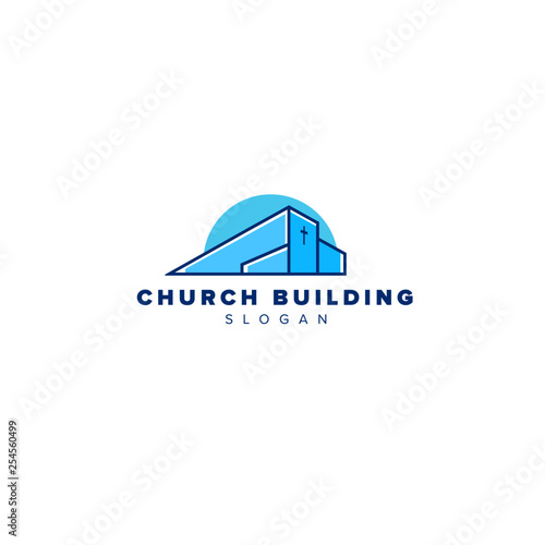 Modern Church building cross   - 254560499