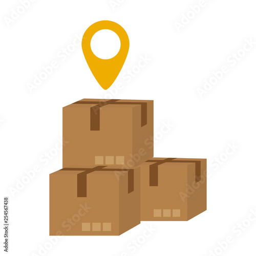 boxes and location symbol