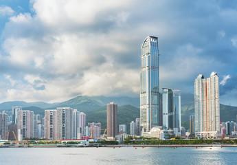Skyline and harbor of Hong Kong City