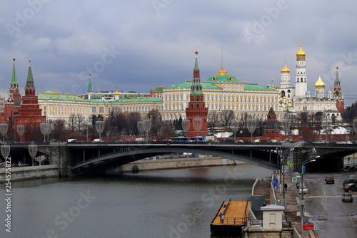Photo of the beautiful landscape of the Moscow Kremlin with a bridge and a river - 254575822