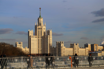 Beautiful bright landscape with a high-rise building in Moscow