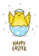 Easter greeting card with cute chicken