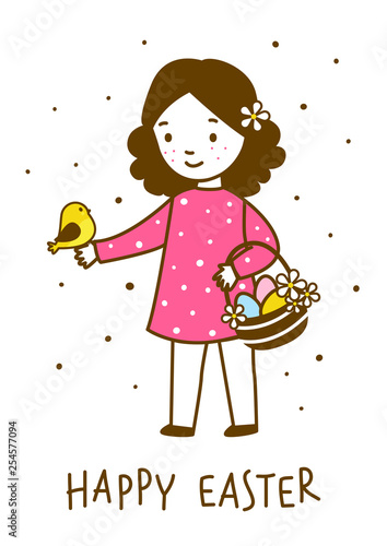 Easter greeting card with cute little girl - 254577094