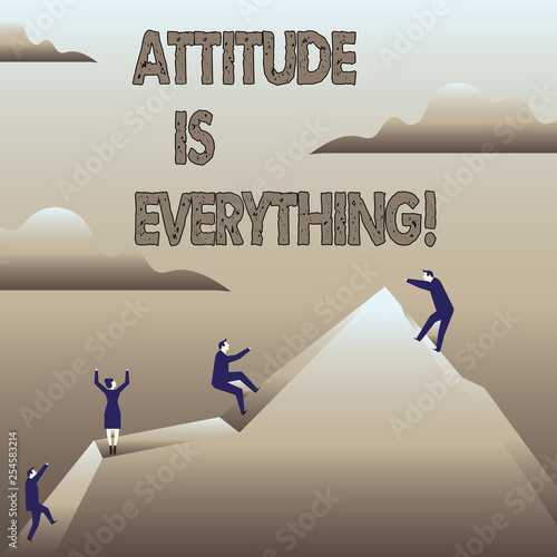 Text sign showing Attitude Is Everything. Business photo showcasing Personal Outlook Perspective Orientation Behavior