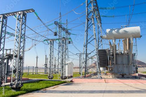 Leinwanddruck Bild High voltage equipment on power electric station