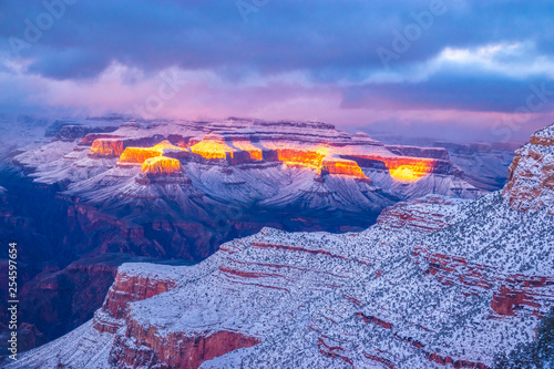 Beautiful Sunrise to Sunset Hike Through Grand Canyon National Park in Arizona - 254597654