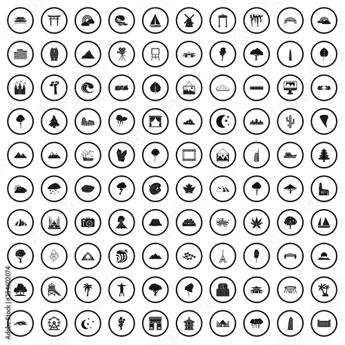 100 view icons set in simple style for any design vector illustration - 254602074