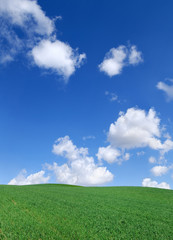 Idyllic view, green hills and blue sky with white clouds © Trutta