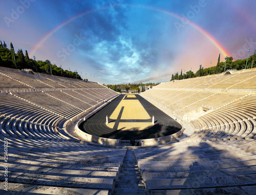 Panathenaic stadium in Athens with rainbow, Greece