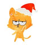 bored retro cartoon of a cat wearing santa hat