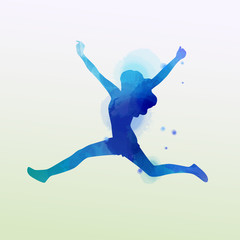 Watercolor of  woman jumping into the air isolated on white background.  Vector illustration.