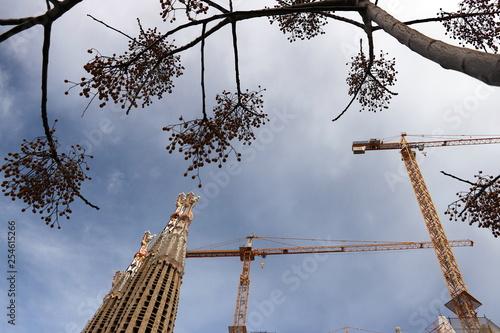 obraz PCV The construction site of the Sagrada Familia originally designed by Antoni Gaudi.