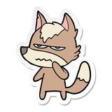 sticker of a cartoon annoyed wolf