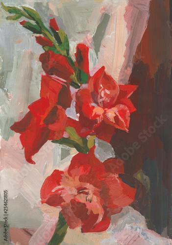 Oil painting red gladiolus © Мария Минина