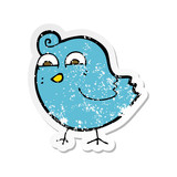 retro distressed sticker of a cartoon funny bird