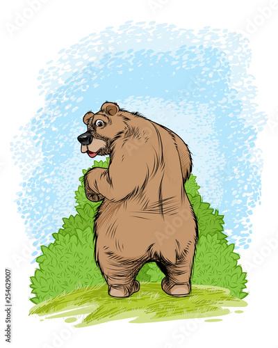 Bear near a shrub