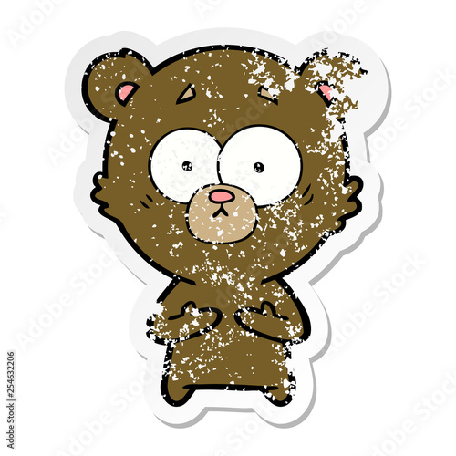 distressed sticker of a surprised bear cartoon