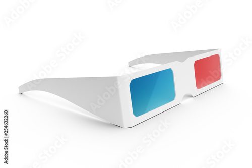 3D Glasses isolated on white background. Glasses for watching a movie with the effect of 3D, side view 3D illustration