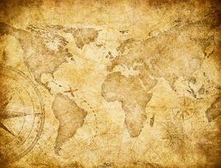 Vintage world map based on image furnished by NASA