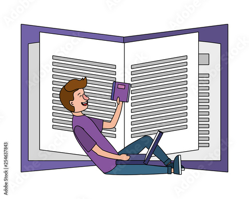 online education man cartoon - 254637843