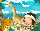 cartoon scene with caveman near the sea shore looking at some happy and funny giant dinosaur diplodocus and sabre tooth tiger - illustration for children